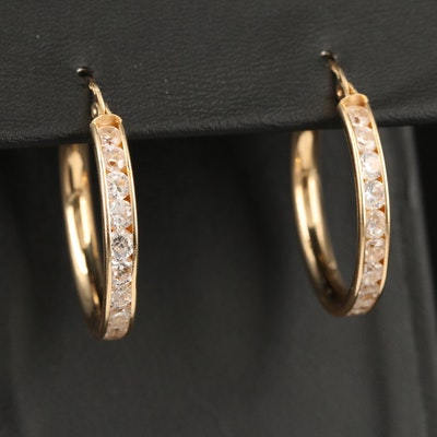 14K Channel Set Cubic Zirconia Hoop Earrings