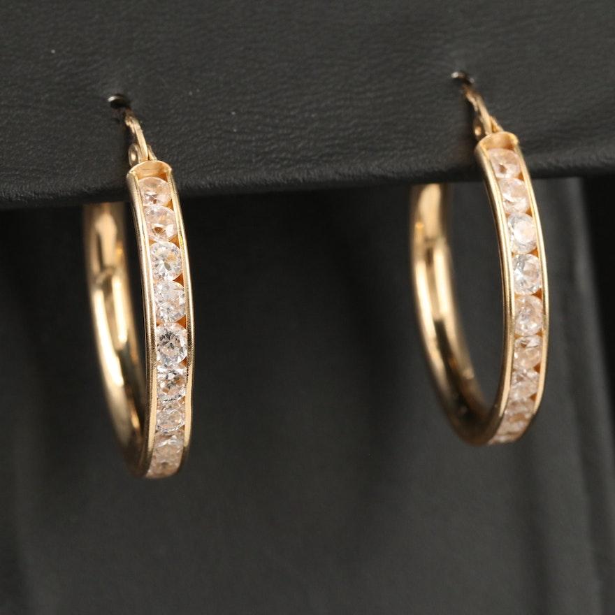 14K Channel Set Cubic Zirconia Hoop Earrings