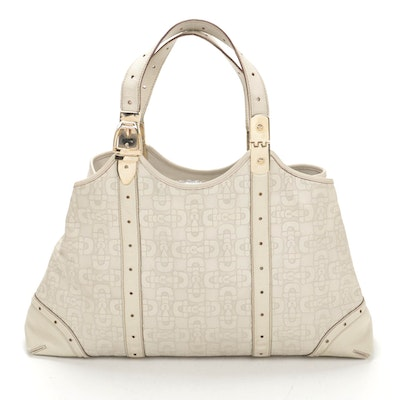 Gucci Shoulder Bag in Horsebit Embossed White Leather