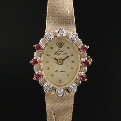 Jules Jürgensen Diamond and Ruby Gold Tone Quartz Wristwatch