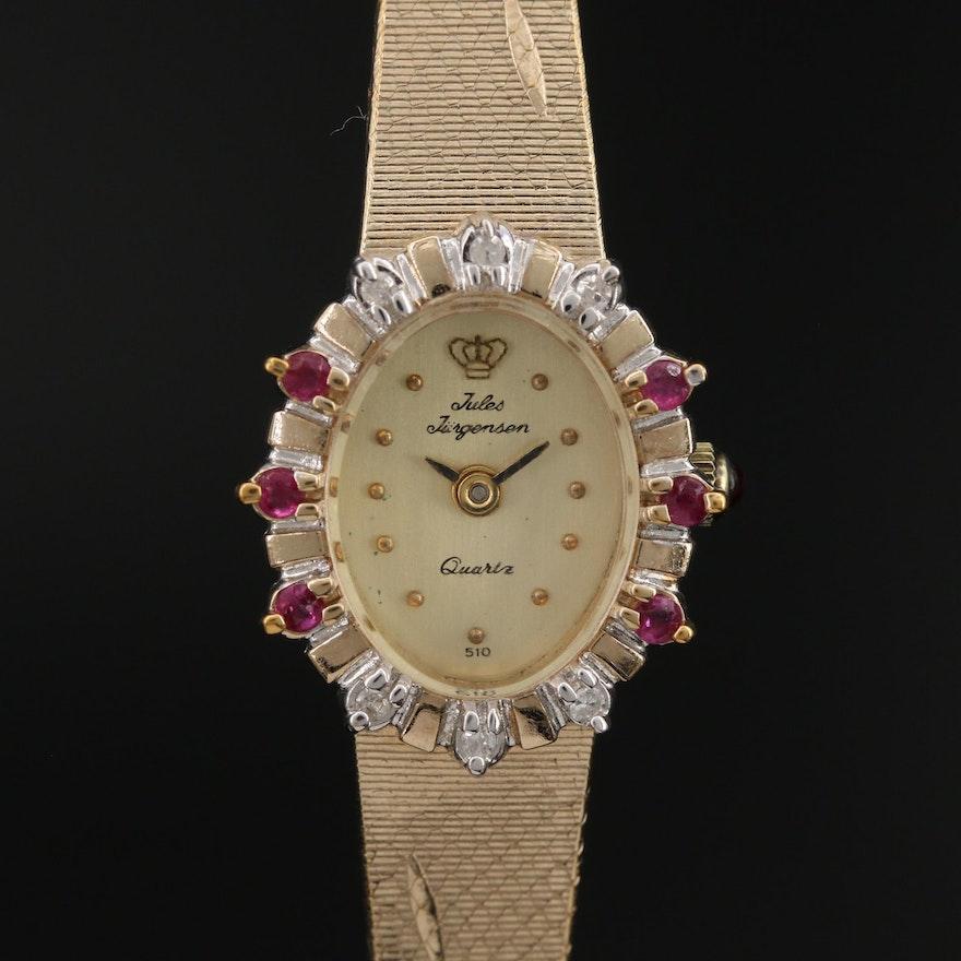 Jules Jürgensen Diamond and Ruby Gold Tone Quartz Wristwatch
