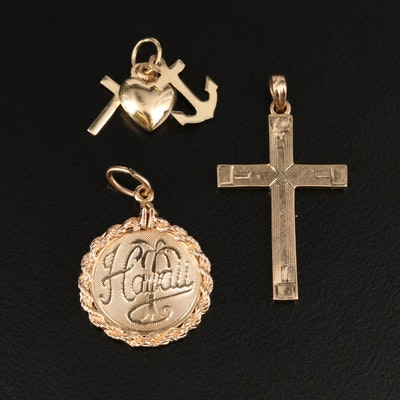 14K Hawaii Pendant and Charms with 10K Cross Pendant