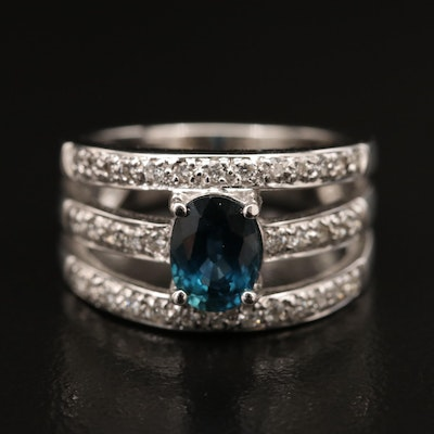 18K 1.21 CT Sapphire and Diamond Ring