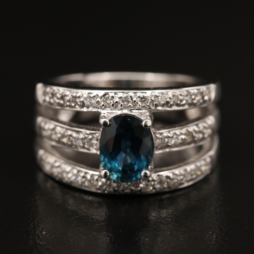18K 1.21 CT Sapphire and Diamond Ring