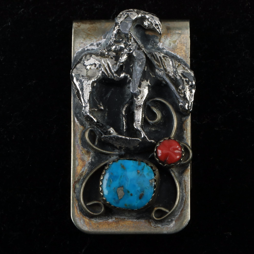Southwestern Style Money Clip in Base Metal, Imitation Coral and Turquoise