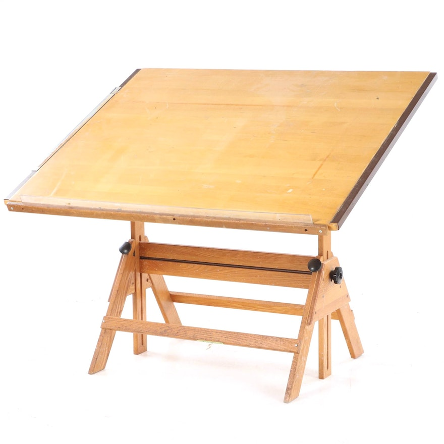 Anco Bilt Industrial Style Oak and Maple Drafting Table, 1980s