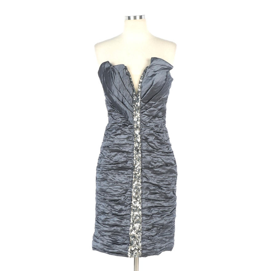 Alberto Makali Charcoal Gray Silk Sequined Two-Way Cocktail Dress