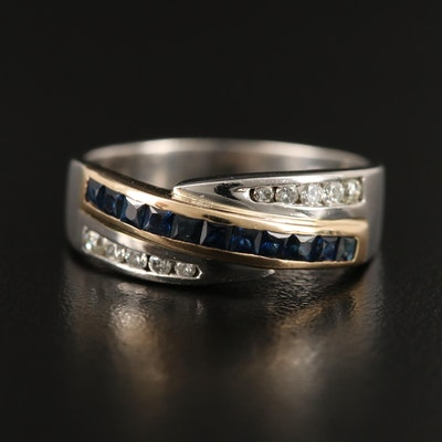 Platinum Channel Set Sapphire and Diamond Crossover Ring with 14K Accents