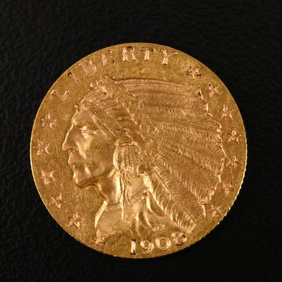 1908 Indian Head $2.50 Gold Quarter Eagle