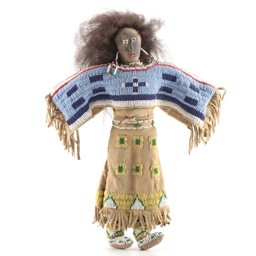 Sioux Style Brain-tanned Leather and Beadwork Doll