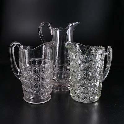 Pressed Glass Pitchers, Early to Mid 20th Century