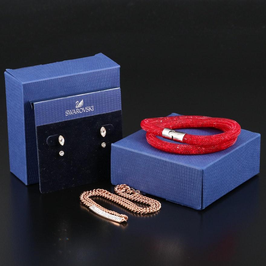 "Swarovski Crystal Jewelry Featuring ""Stardust"" Bracelet and ""Vio"" Necklace"