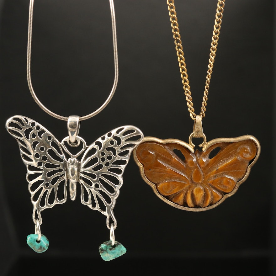 Tiger's Eye and Chrysocolla Butterfly Necklaces Including Sterling Silver