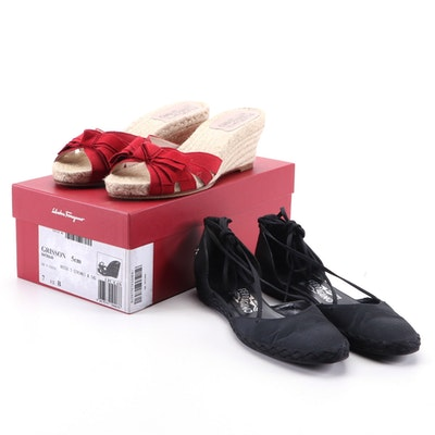 Salvatore Ferragamo Grisson Espadrille Wedge Sandals and Black Ballet Flats