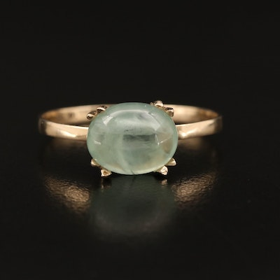 14K Oval Prehnite Cabochon East-West Solitaire Ring