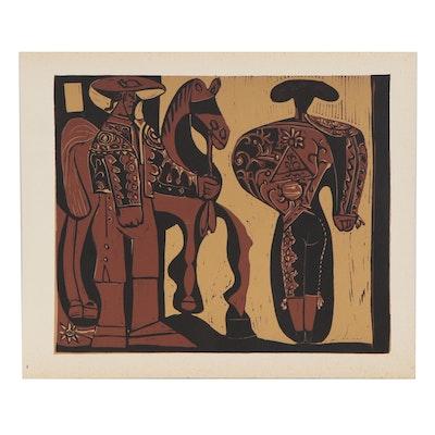 """Pablo Picasso Linoleum Cut """"Picador and Matador,"""" 1962"""
