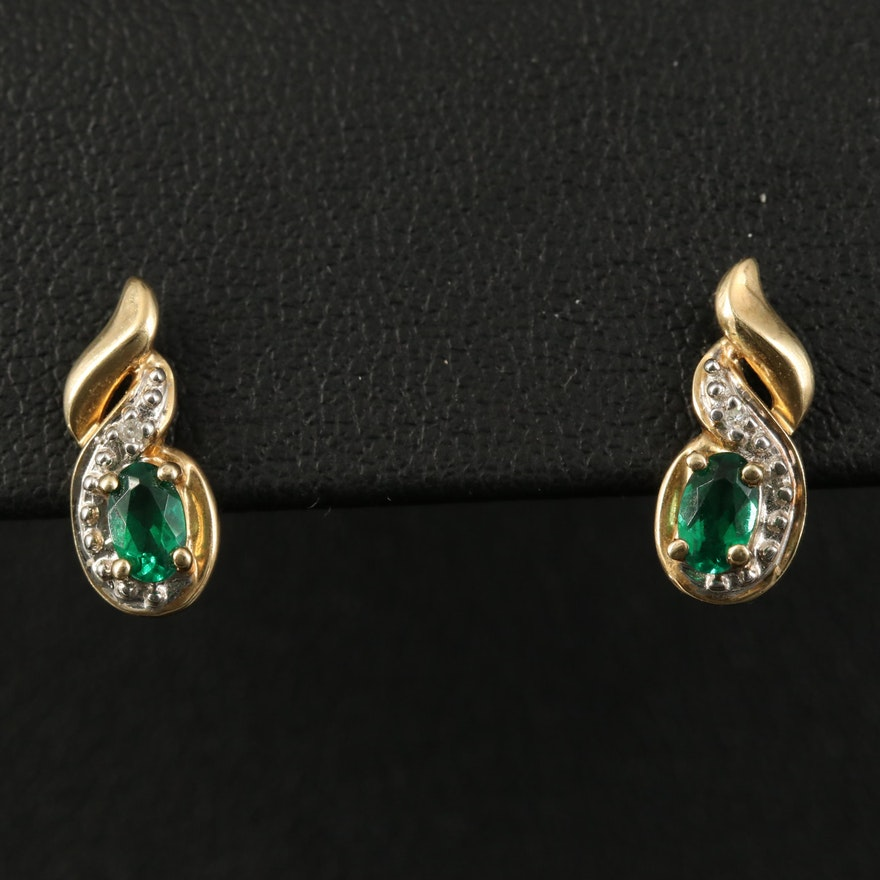 10K Emerald and Diamond Earrings with 14K Clutches