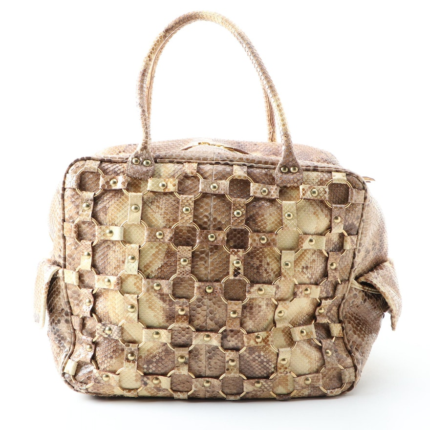 Christian Dior Python Bag with Interlocking Strap and Ring Detailing