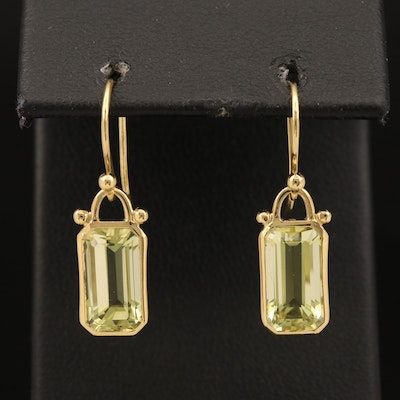 18K Citrine Rectangular Dangle Earrings