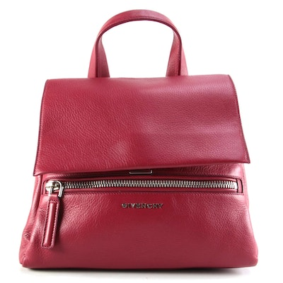 Givenchy Small Pandora Pure Satchel in Red Grained Calfskin Leather with Strap