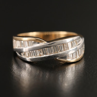 14K Channel Set Diamond Crossover Ring