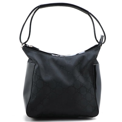Gucci Shoulder Bag in Black GG Nylon with Patent Leather Trim