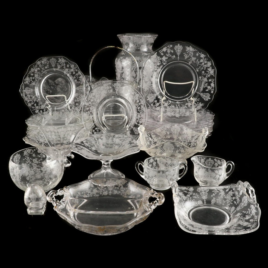 """Cambridge """"Rose Point"""" Etched Glass Tableware and Accessories, 1934–1958"""