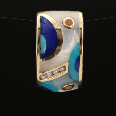 14K Diamond and Inlay Gemstone Slide Pendant
