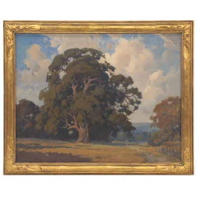 Landscape Oil Painting in the Style of Henry Percy Gray, Mid-20th Century
