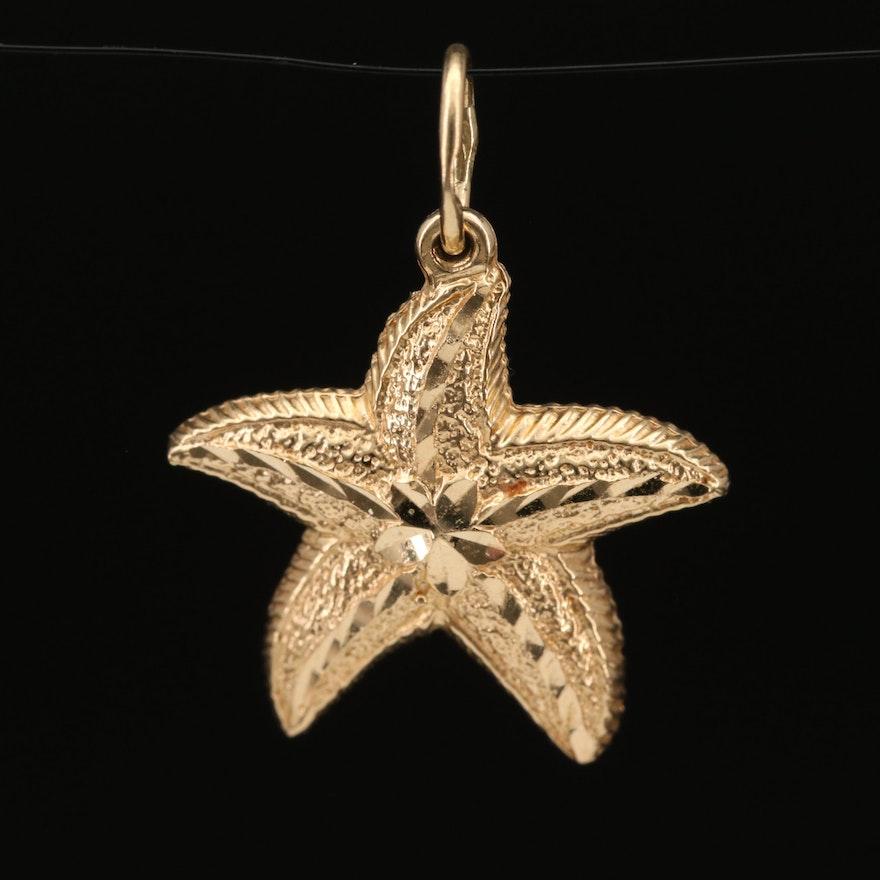 14K Starfish Pendant with Diamond Cut Accents