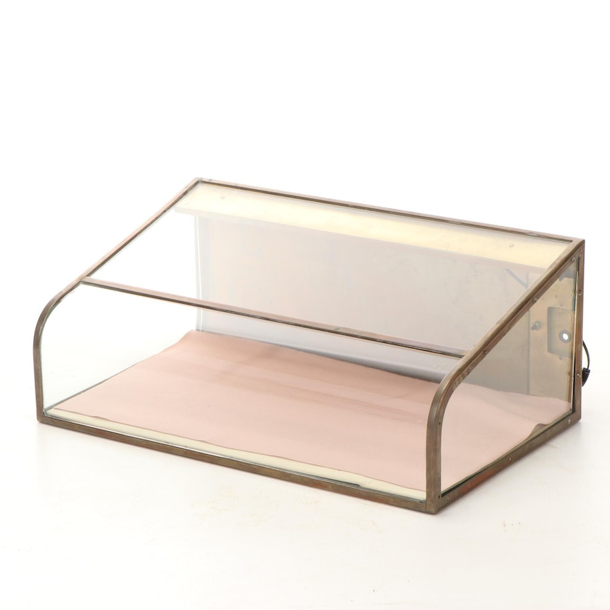 Metal and Glass Counter Display Cabinet, 20th Century