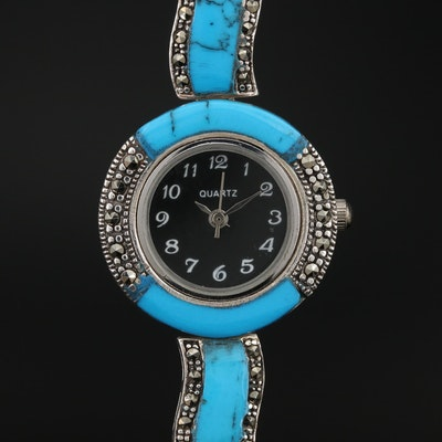 Sterling Silver Marcasite and Faux Turquoise Quartz Wristwatch