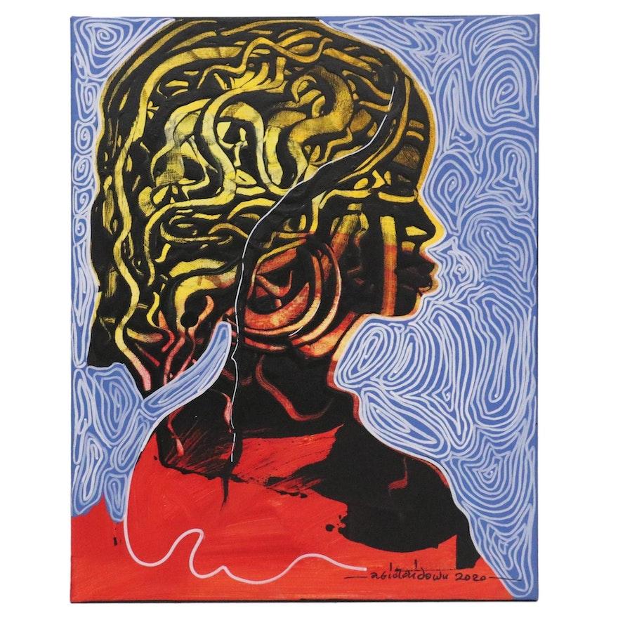 "Abiola Idowu Mixed Media Painting ""Symbol of Grace,"" 2020"