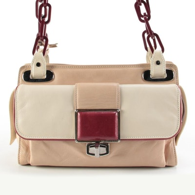 Balenciaga Cherche Midi Shoulder Bag in Beige, Ivory, and Burgundy Leather