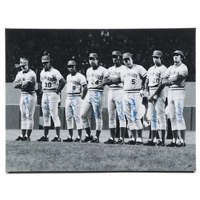 "1975/1976 Cincinnati Reds Signed ""Great Eight World Champions"" Canvas Print"