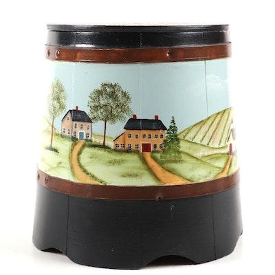 Americana Folk Art Painted Wooden Ice Bucket, Mid to Late 20th Century