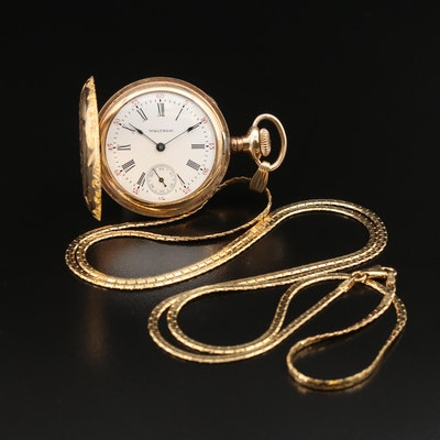 1903 Waltham Gold Filled Hunting Case Pocket Watch with 14K Chain Fob