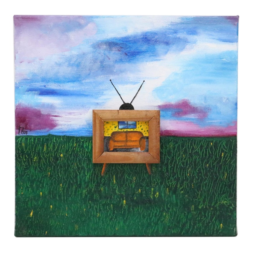 "Michelle Robertson Embellished Acrylic Painting ""Window 1,"" 2007"