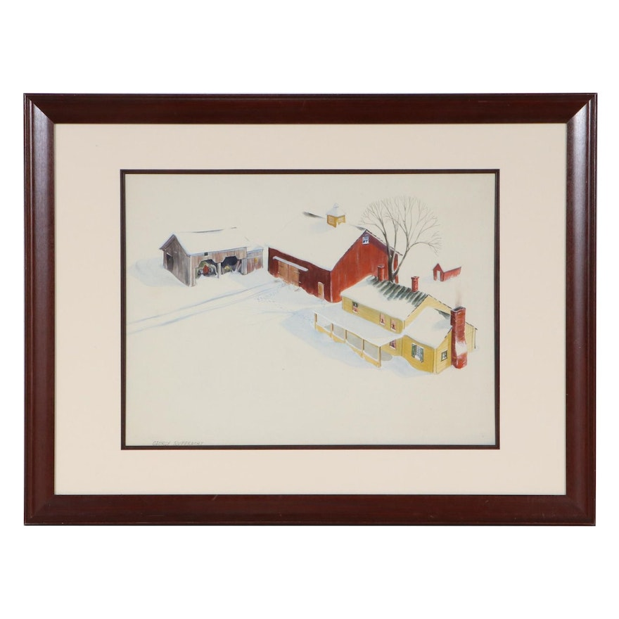 George Rupprecht Watercolor Painting of Snowy Farm