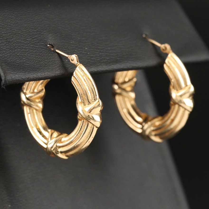 "Michael Anthony 14K Crossover Ribbed ""X"" Hoop Earrings"
