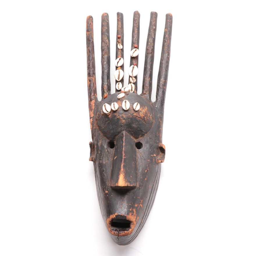 """Bamana """"N'tomo"""" Style Hand-Carved Mask with Cowrie Shells, Mali"""