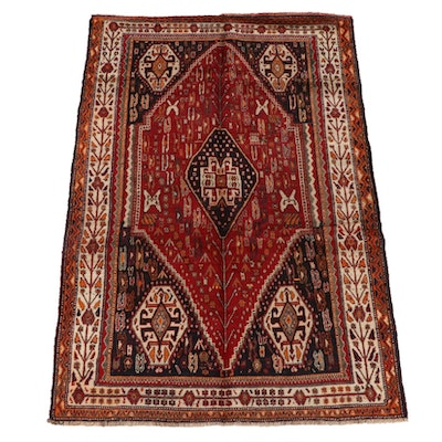 5'2 x 8'4 Hand-Knotted Persian Qashqai Wool Rug