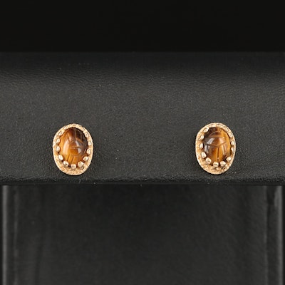 14K Tiger's Eye Scarab Stud Earrings