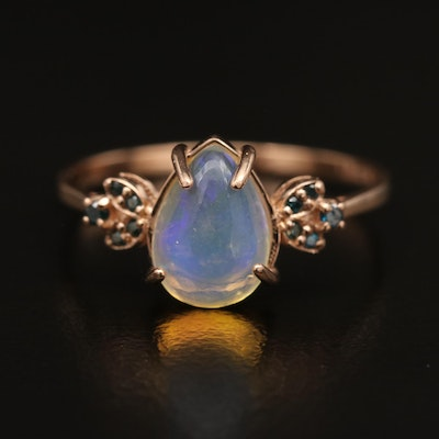 14K Opal and Blue Diamond Ring