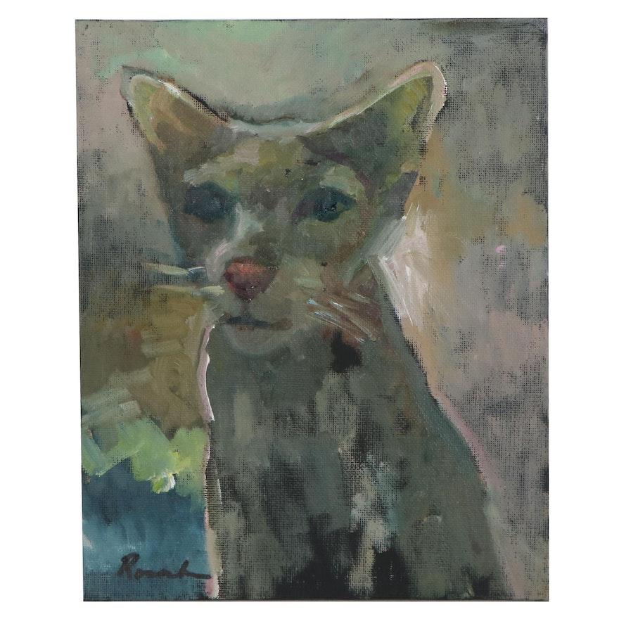 Sally Rosenbaum Oil Painting of a Cat, 21st Century