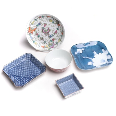 East Asian Porcelain Dishes and Bowl, Mid to Late 20th Century