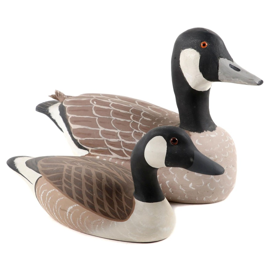 Wallace Lugibihl and Raymond E. Hornick Wooden Canadian Geese Decoys, 1980s