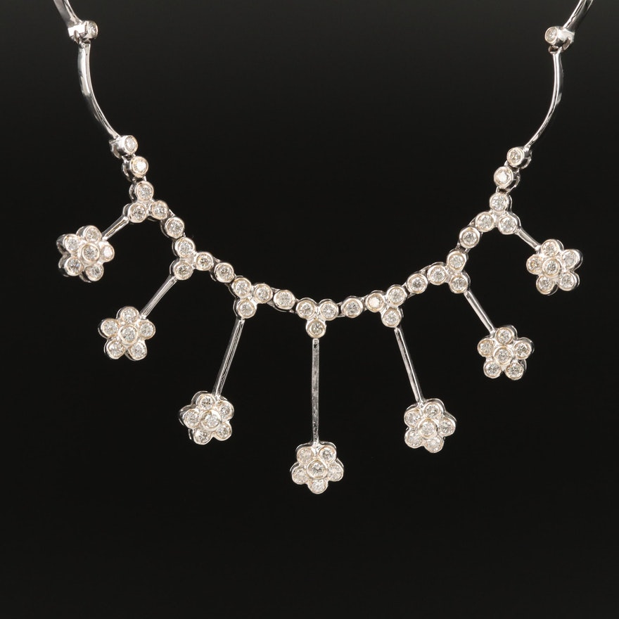 14K 2.00 CTW Diamond Floral Necklace
