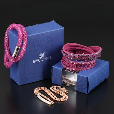"Swarovski Crystal Including ""Stardust"" and ""Suede"" Wrap Bracelets"
