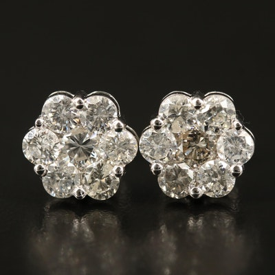 10K 3.04 CTW Diamond Cluster Earrings